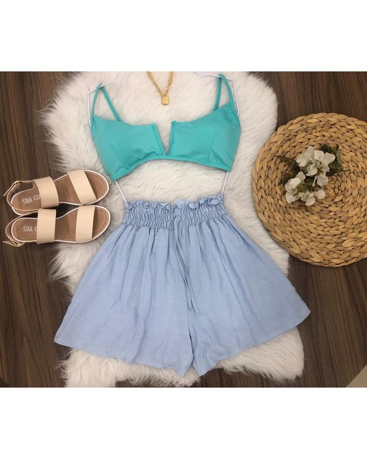 Shorts Elástico Soltinho Azul Claro