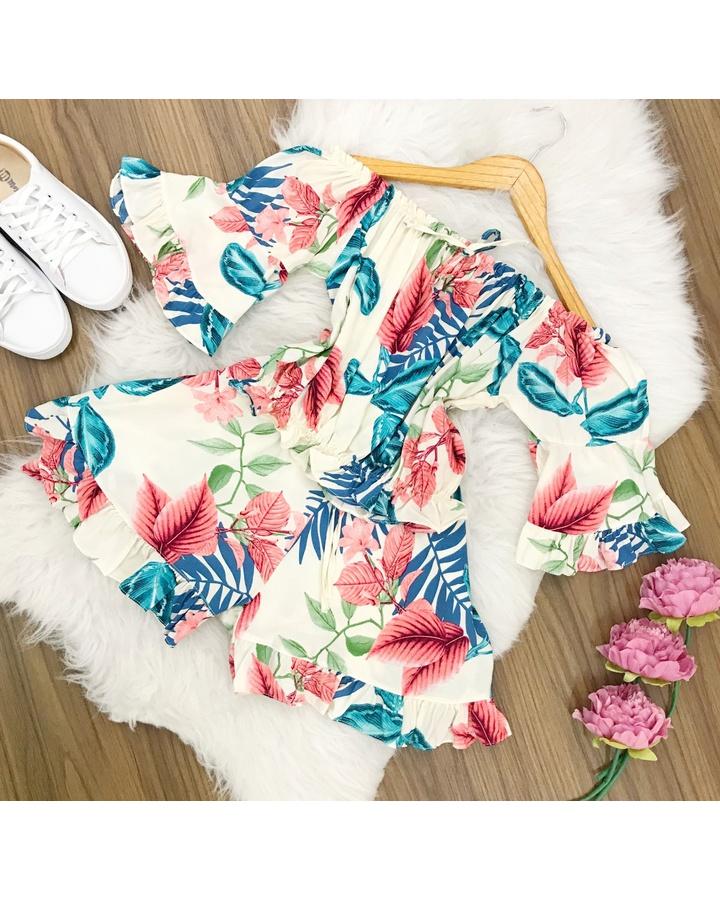 Conjunto | Shorts e Cropped Ciganinha|floral Azul e Rosa