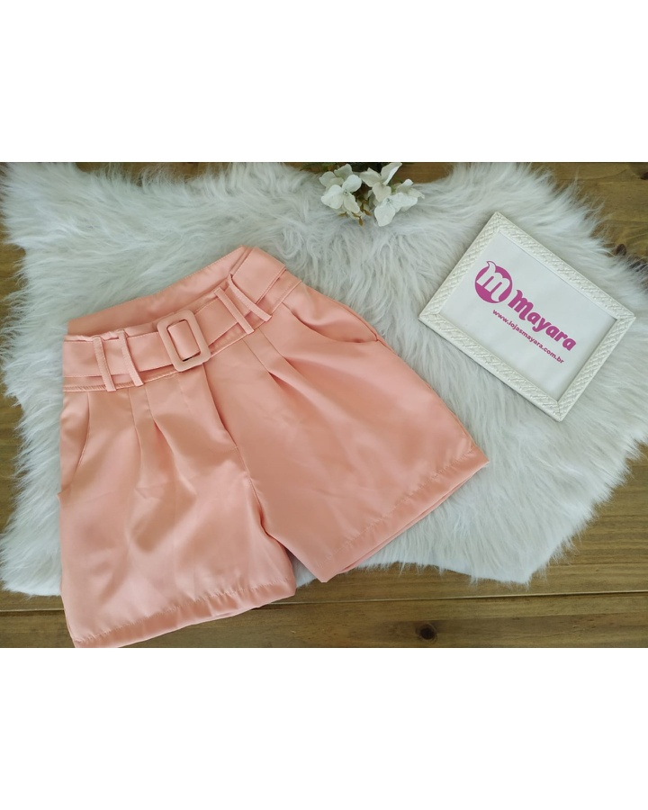 Shorts Alfaiataria C/ Cinto Rosa
