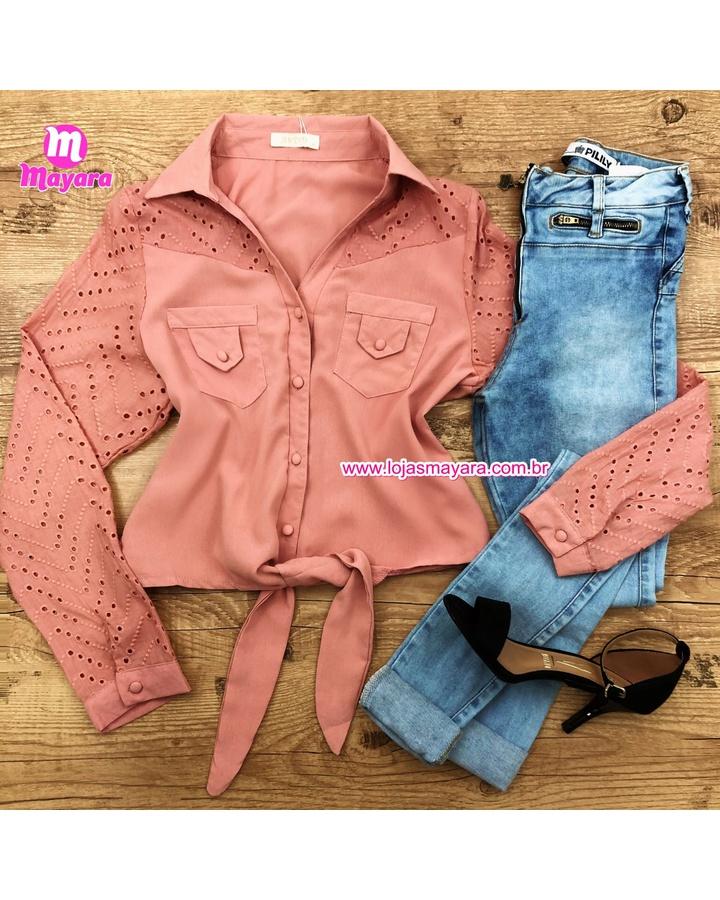 Blusa Rosa Com Amarra