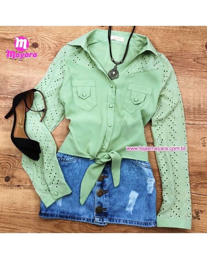 Blusa Verde Com Amarra