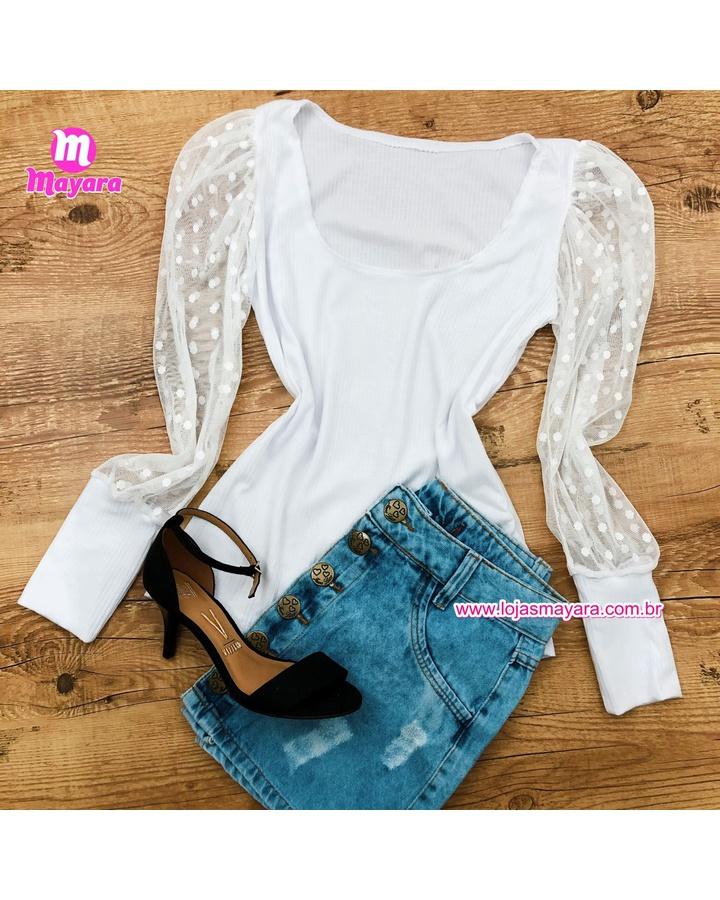 Blusa Branca Com Manga Em Tule
