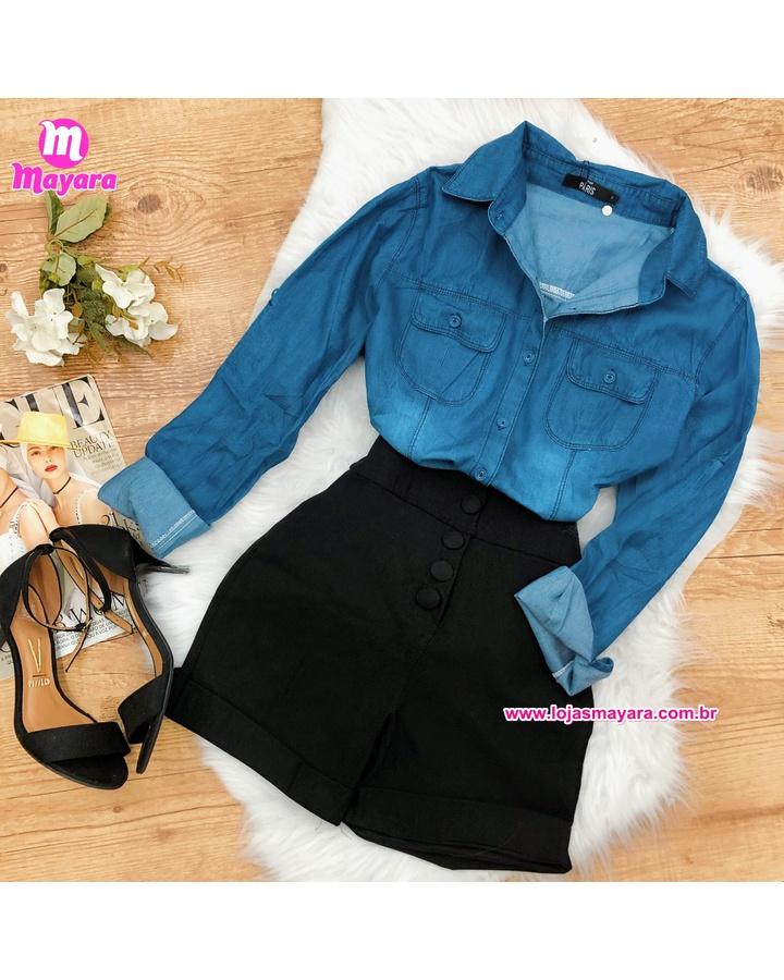 Camisa Jeans Feminina Escura