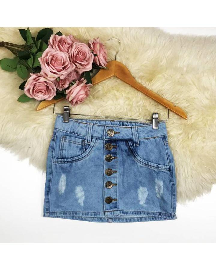 Saia Jeans Botões Mesclada