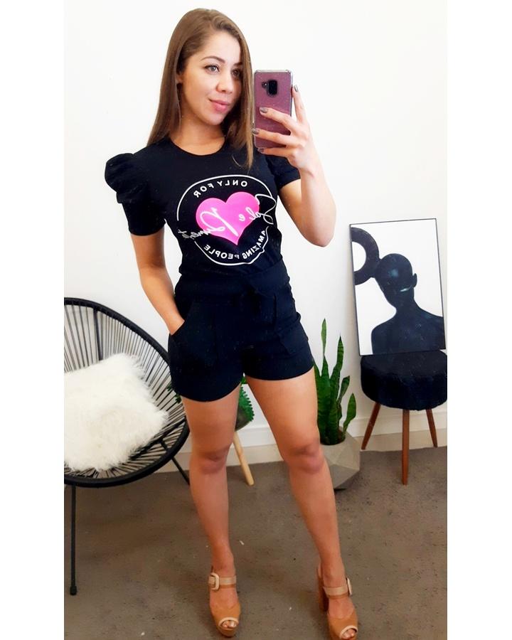 Conjunto Manga Princesa - Preto Coração Rosa