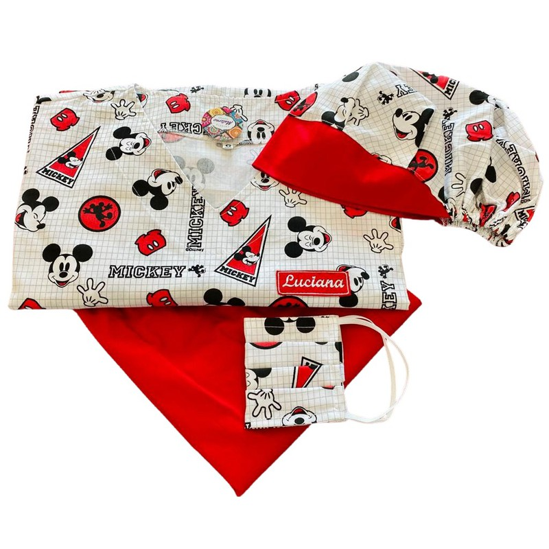 Kit Pijama Cirúrgico - Touca - Mascara - Mickey 03