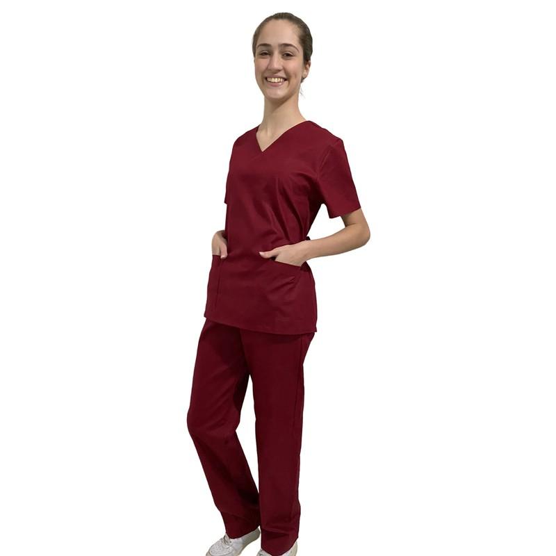 Pijama Cirúrgico Feminino - Bordo