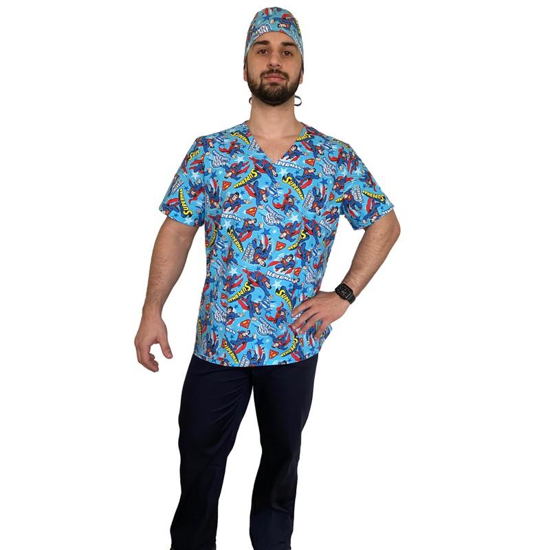 Pijama Cirúrgico Masculino- Superman