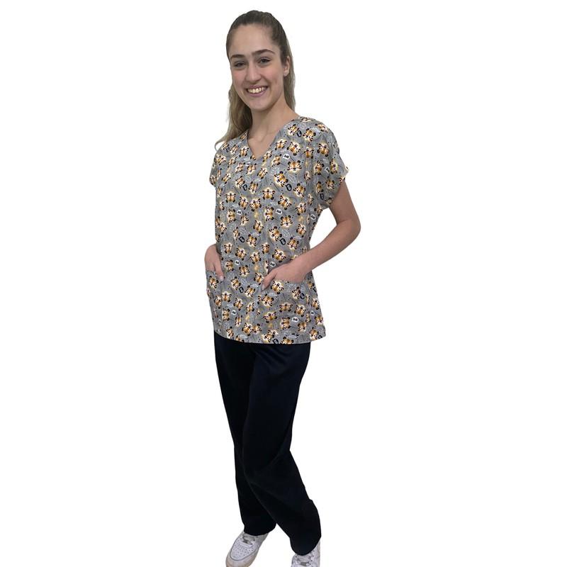 Pijama Cirúrgico Feminino - Tigres 01