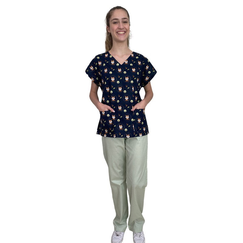 Pijama Cirúrgico Feminino - Raposas 03