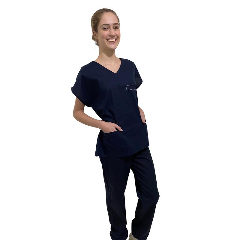 Pijama Cirúrgico Feminino - Azul Marinho