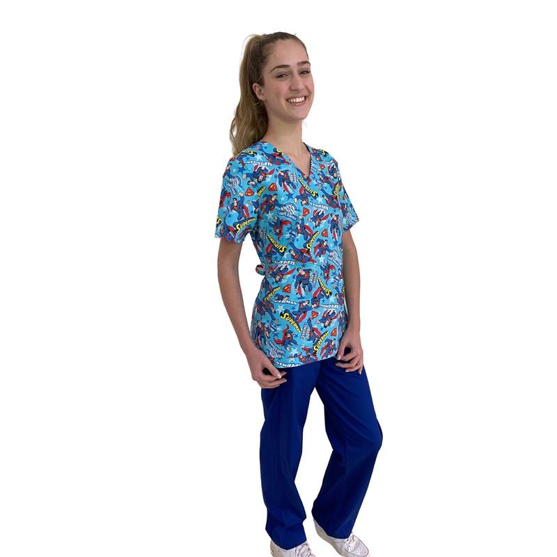 Pijama Cirúrgico Feminino - Superman