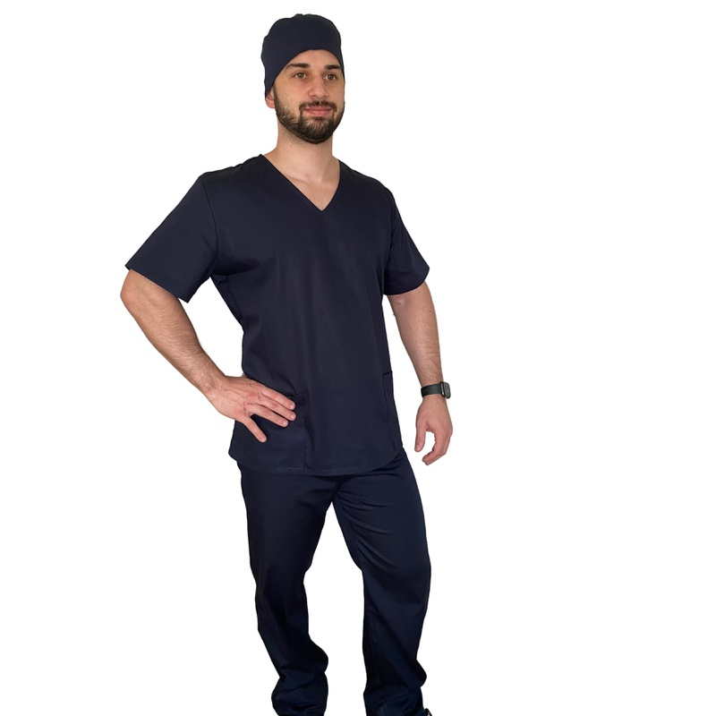 Pijama cirúrgico masculino azul marinho