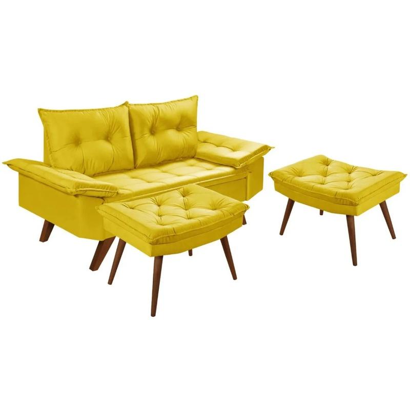 Sofá 2 Lugares Bariloche Amarelo Com Duas Banquetas Rubi