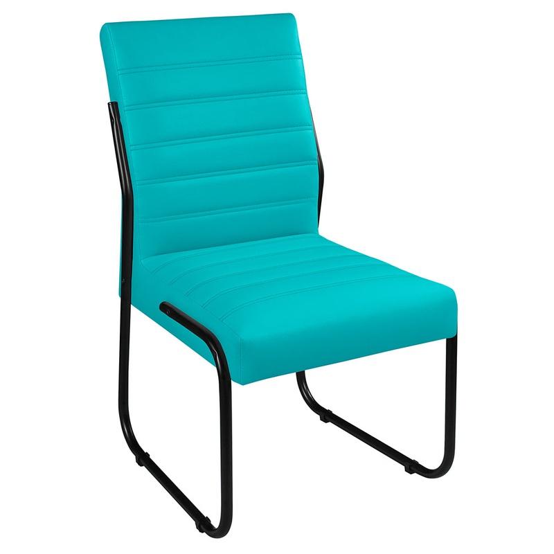 2 Cadeiras Sala de Jantar em Couro Sintético Azul ... - Essencial Estofados