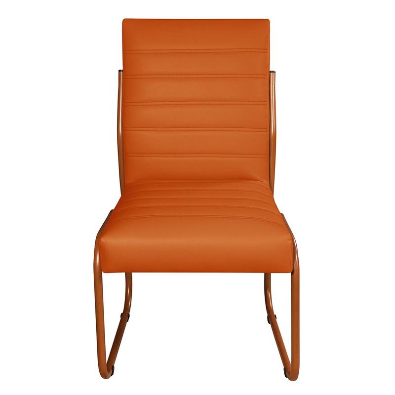 2 Cadeiras Sala de Jantar em Couro Sintético Laran... - Essencial Estofados