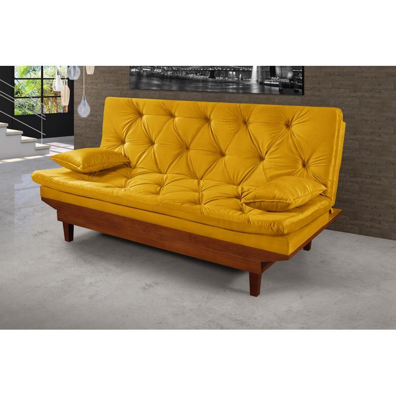 Sofá Cama Reclinável Caribe 3 Posições Essencial Estofados Amarelo