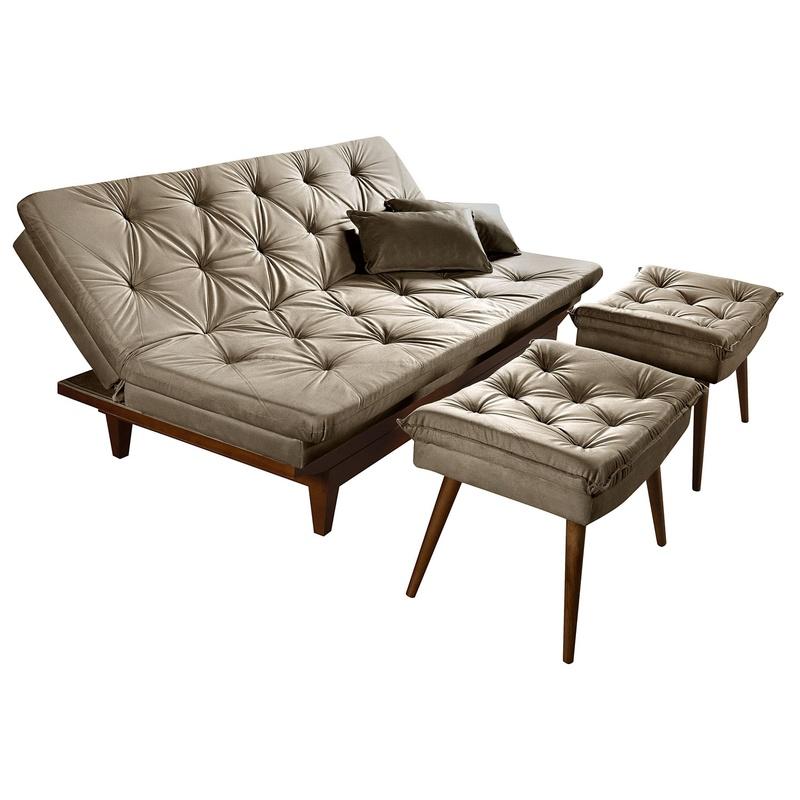 Sofa Cama Bege Caribe Reclinavel + Duas Banquetas Rubi Essencial