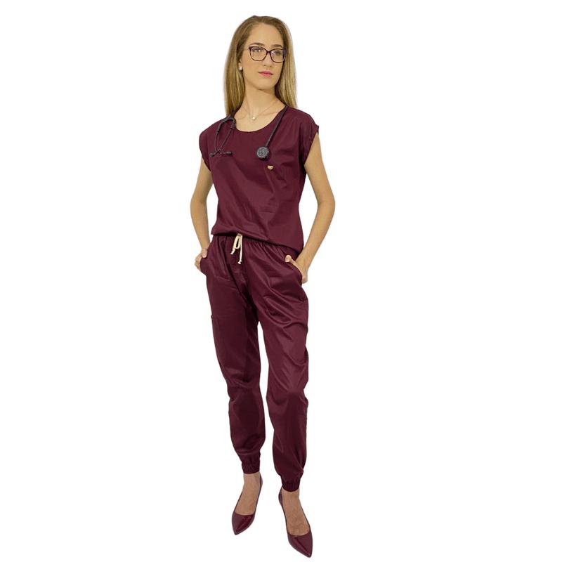 Pijama Cirúrgico Feminino Trendy - Vinho