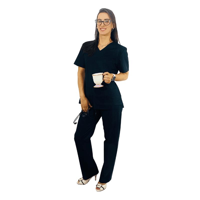 Pijama Cirúrgico Tradicional Tricoline - Preto