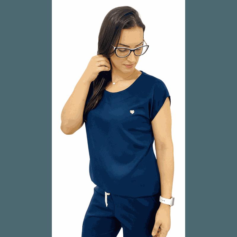 Scrub Cirúrgico Feminino Trendy - Gabardine Azul Marinho