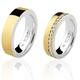 Par de Aliança Casamento/Noivado Mista em Ouro 18k/750 e Prata 950 AL157