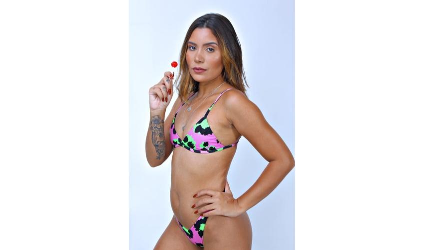 Conjunto Marina Onça Rosa/Verde ( Calcinha Dupla Face )