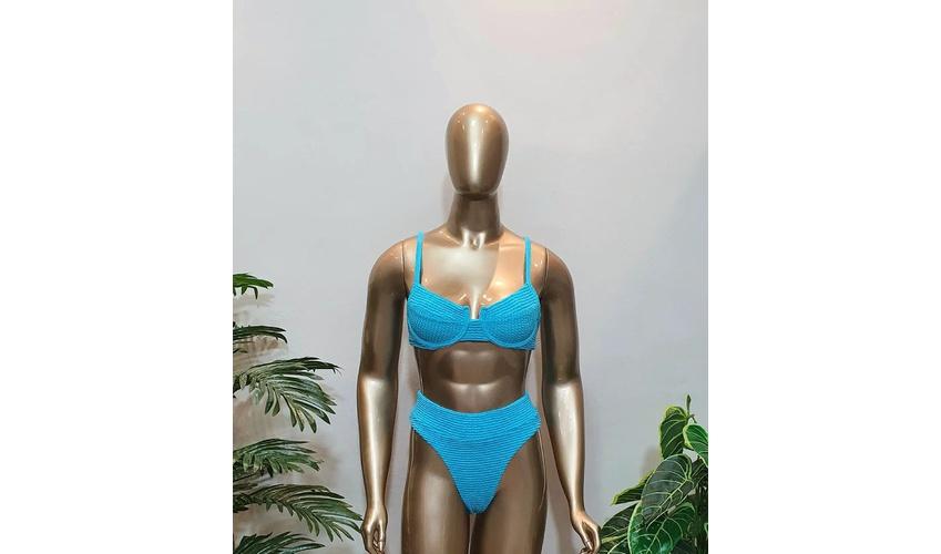 Conjunto Bahamas Com Hot Pants Azul Piscina ( Mônaco )