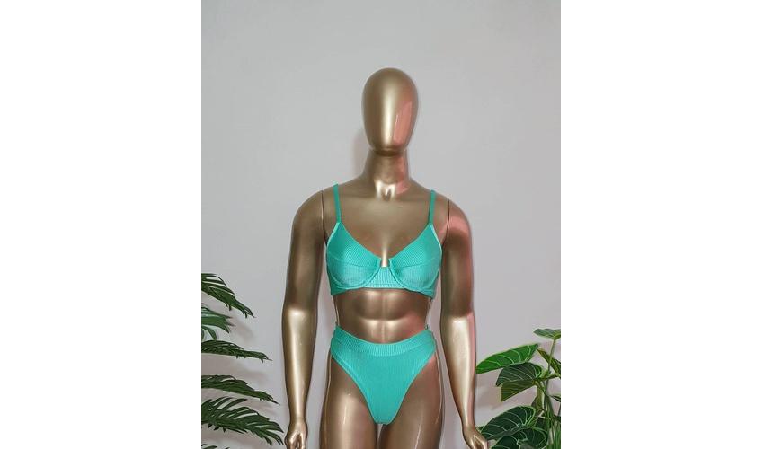 Conjunto Bahamas Com Hot Pants Verde Água ( Canelado )