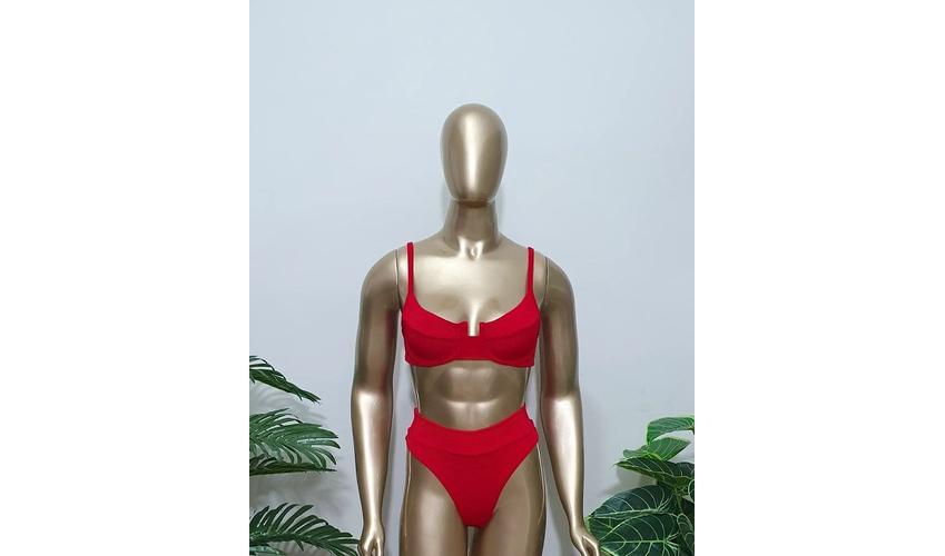 Conjunto Bahamas Com Hot Pants Vermelho Texturizado