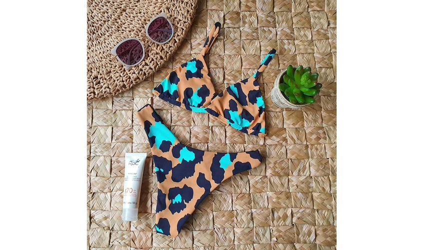 Conjunto Marina Onça Marrom/Azul ( Calcinha Dupla Face )
