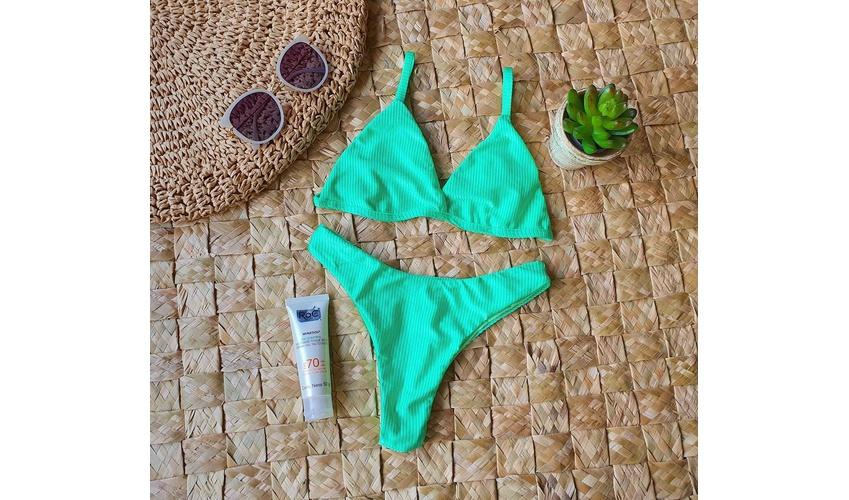 Conjunto Marina Verde Canelado ( Calcinha Dupla Face )