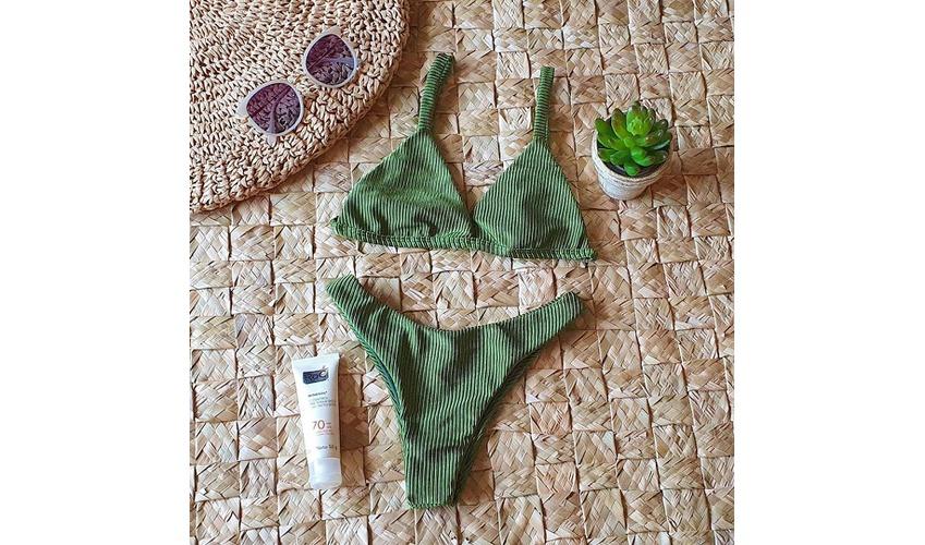 Conjunto Marina Verde Oliva Canelado ( Calcinha Dupla Face )