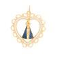 Pingente De Ouro 18k Nossa Senhora Da Aparecida Com Pedras 22mm
