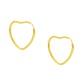 Brinco De Ouro 18k Argola Coração De 15mm