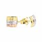 Brinco De Ouro 18k Quadrado Tricolor
