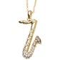 Pingente De Ouro 18k Saxofone Com Zircônias
