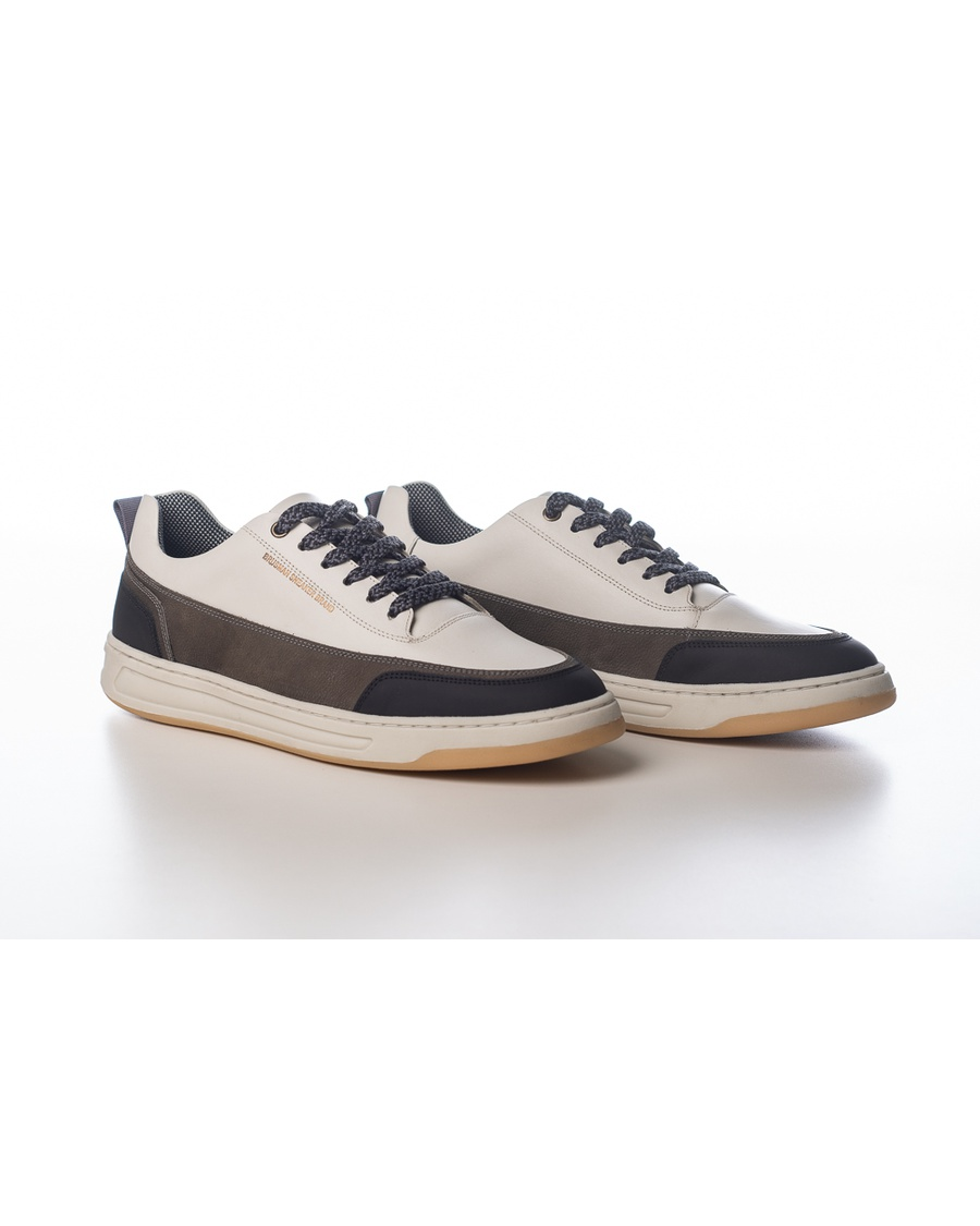 Sneakers Casual Jeans Couro Branco Brusman