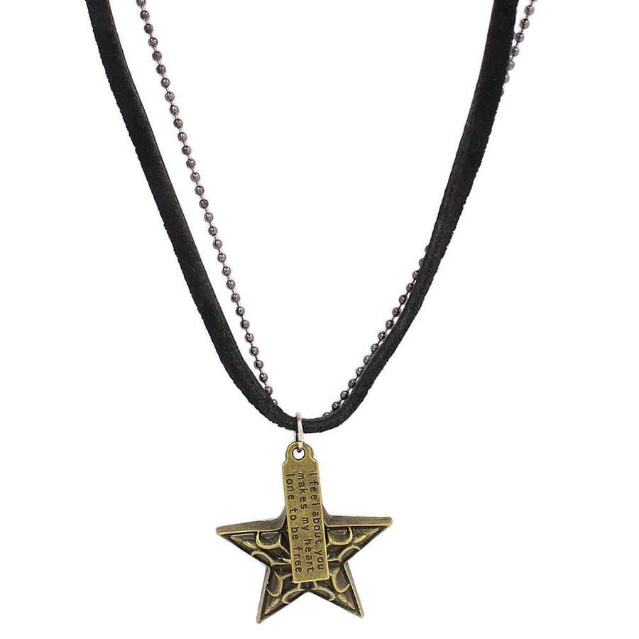 Colar Masculino Preto Estrela Ouro Velho