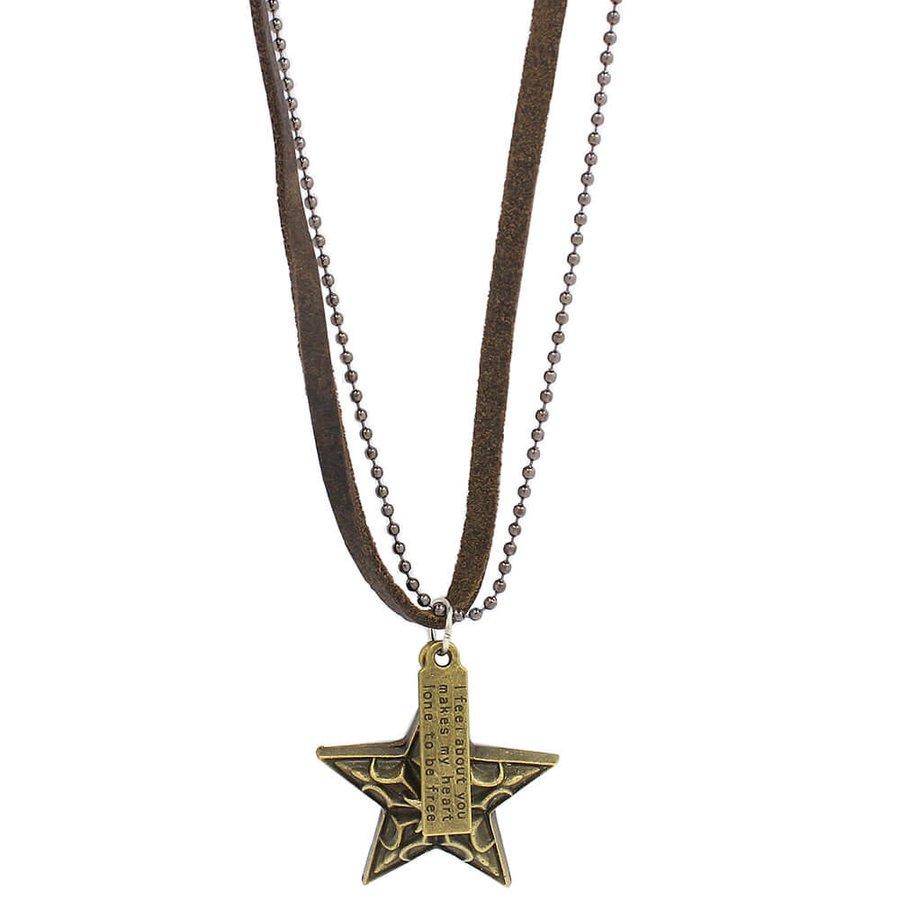 Colar Masculino Marrom Escuro Estrela Ouro Velho