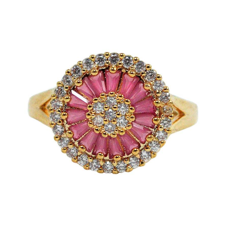 Anel Zircônia Carly Dourado Pink *