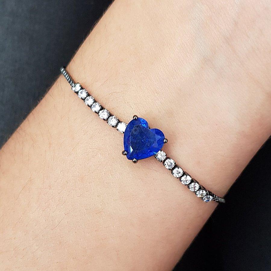 Pulseira Gravatinha Zircônia Coração Grafite Azul