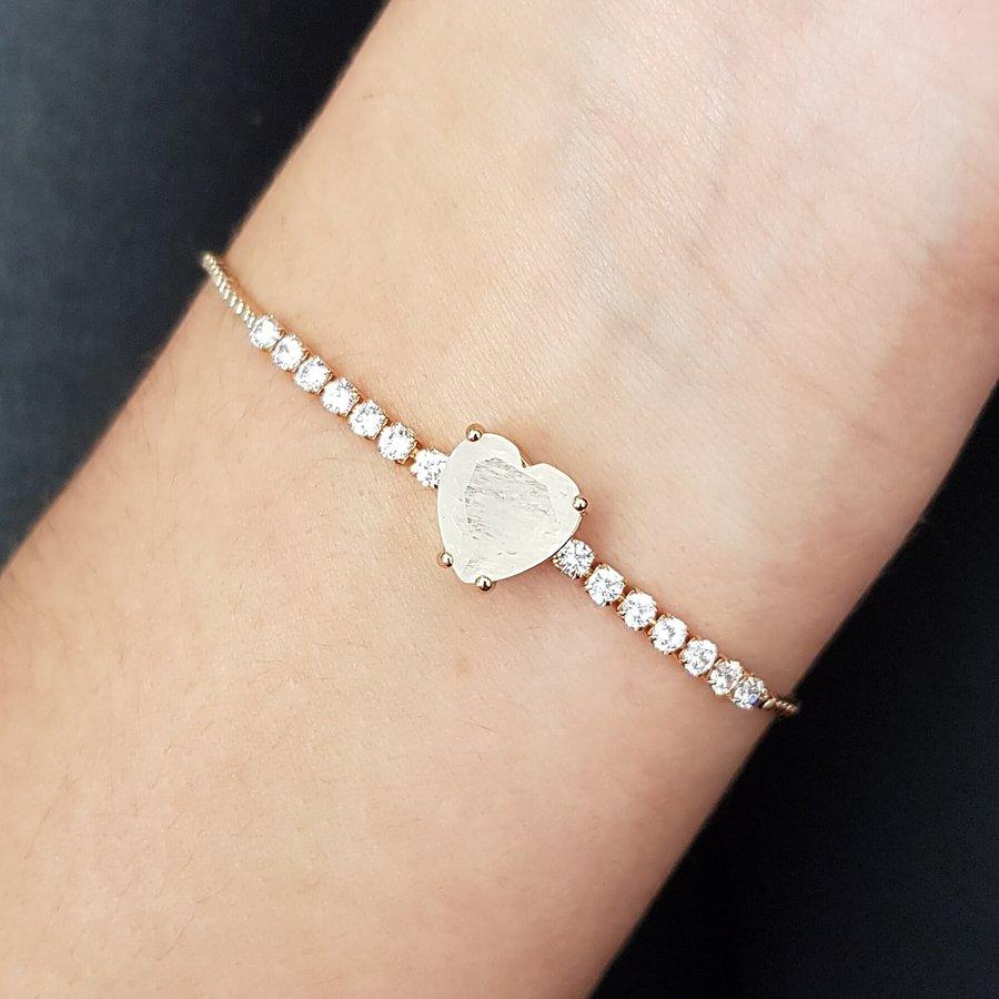 Pulseira Gravatinha Zircônia Coração Dourado Branco
