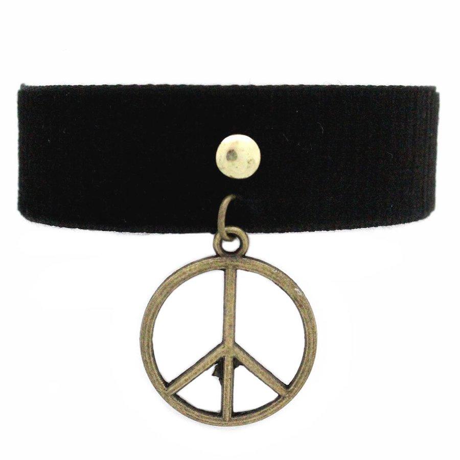 Pulseira Tecido Black Simbolo Paz Dourado Velho
