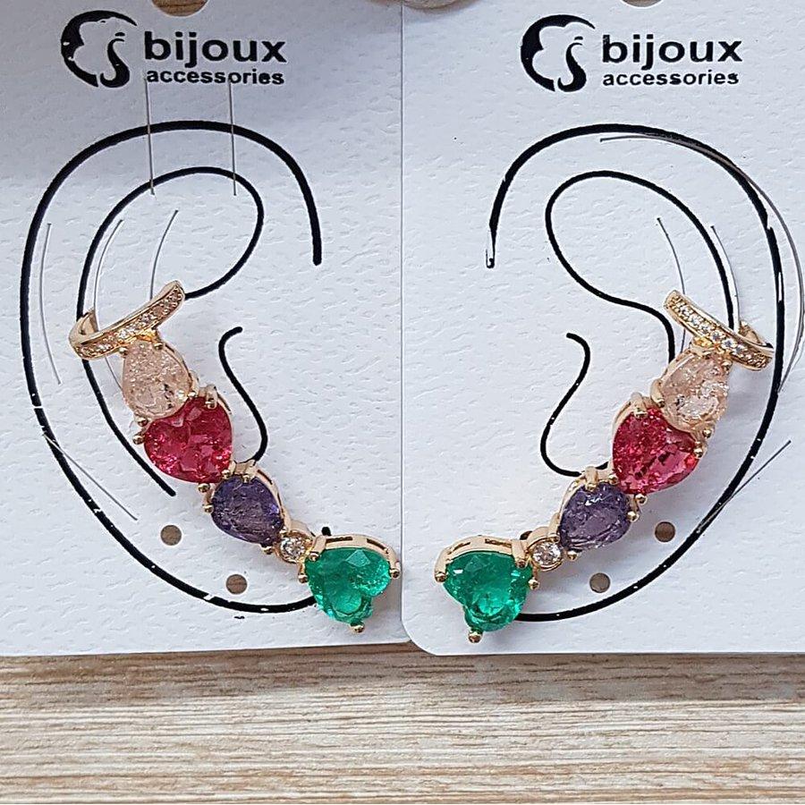 Par De Brinco Ear Cuff Médio Pedra Fusion Coração Dourado Acqua Colorido
