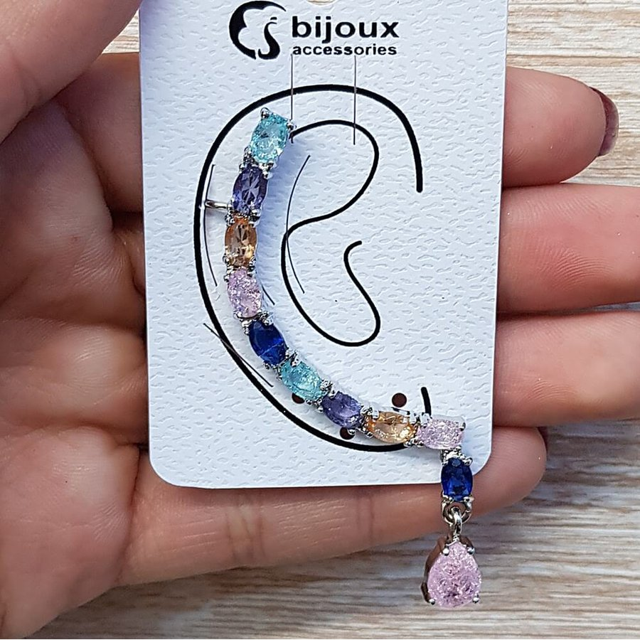 Brinco Grande Ear Cuff Pedra Fusion Prata Rosa Colorido