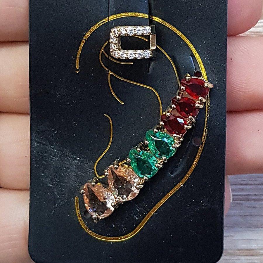 Kit De Brinco Ear Cuff e Piercing Fake Dourado Colorido