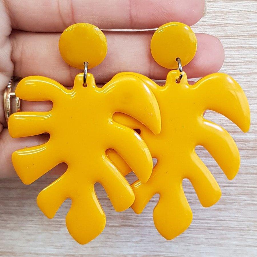 Brinco Grande Acrílico Folha Amarelo