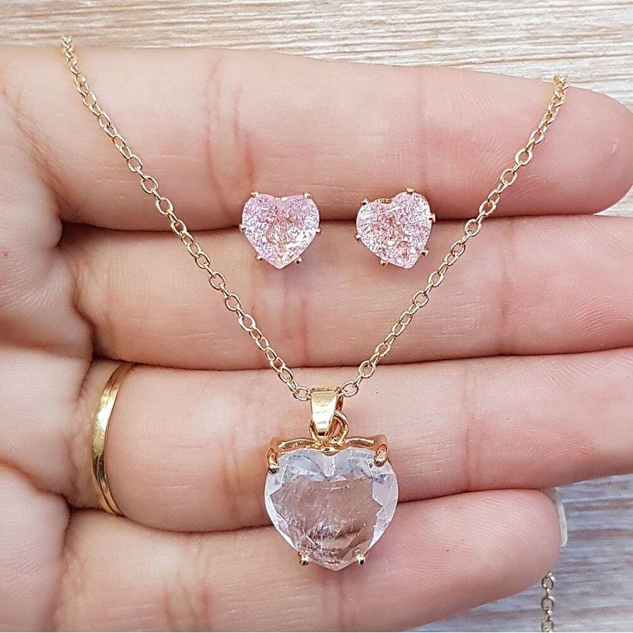 Conjunto Coração Dourado Rosa