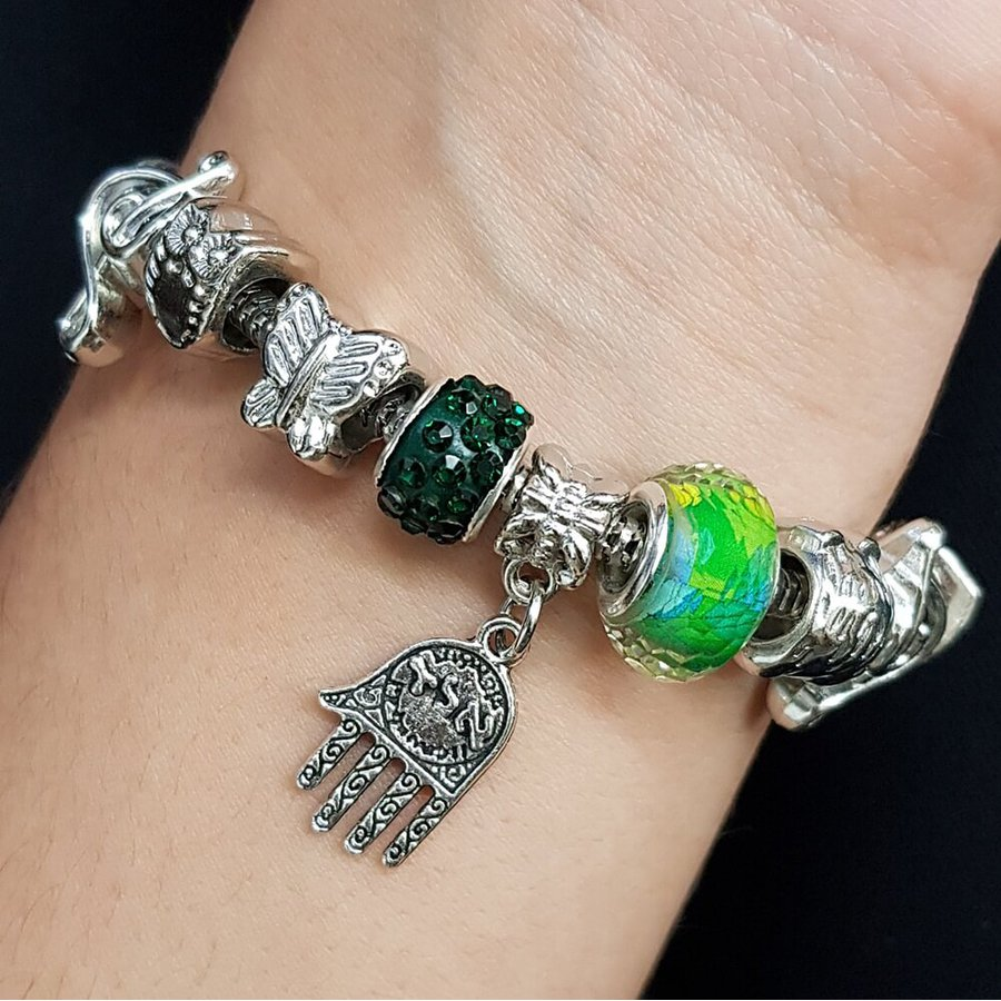 Pulseira Pandora Hamsa Prata Verde